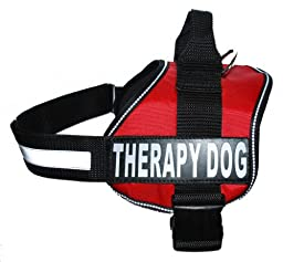 Therapy Dog Harness Service Working Vest Jacket Removable velcro Patches,Purchase comes with 2 THERAPY DOG reflective pathces