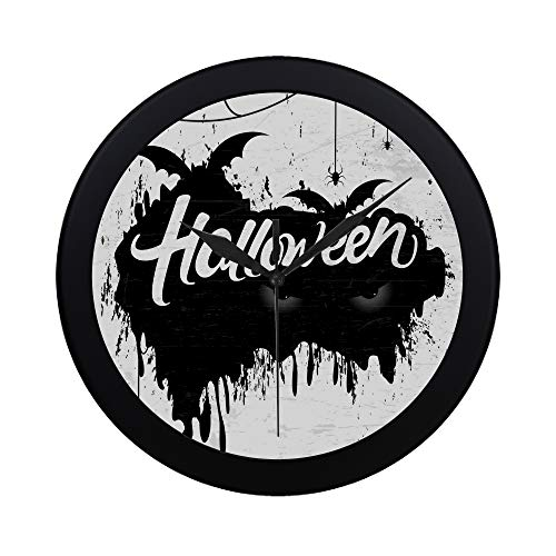 VvxXvx Modern Simple Scary Retro Happy Halloween Stylish Wall Clock Indoor Non-Ticking Silent Quartz Quiet Sweep Movement Wall Clcok for Office,Bathroom,livingroom Decorative 9.65 Inch -