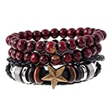 Jili Online 3 Pcs Fashion Handmade Weave Multi-Layer Personality Friendship Multi-Color Western Male PU Leather Bracelets with Double Red-Brown Beads