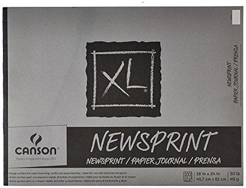 Canson Biggie Jr. Newsprint Pads (Pad of 100) 1 pcs sku# (Recycled Newsprint Drawing)