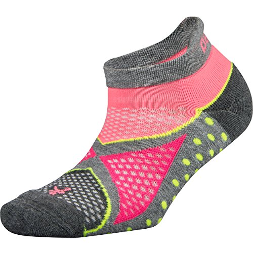 Balega Enduro V-Tech No Show Socks For Men and Women (1-Pair), Midgrey/Sherbet Pink, Medium