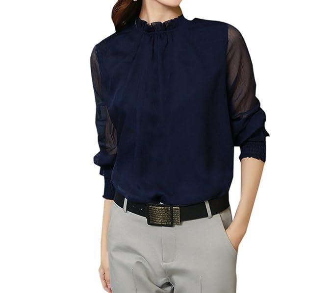 Primavera y Otoño Mujeres Tops Casual Camisetas de Manga Larga Blusa tee Moda Tul Costura Camisas