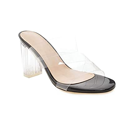7cd82c9a99 JEFCY Women Chunky High Heel Sandals Open Toe Lucite Clear Summer Mules  Transparent Lady Slip On