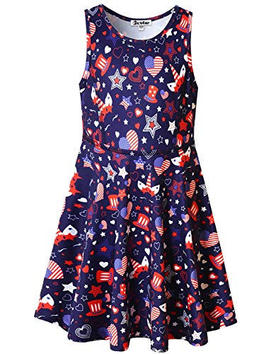 Jxstar Big Girls Summer Sleeveless Dresses American Flag 4th July Clothes Size 8 9