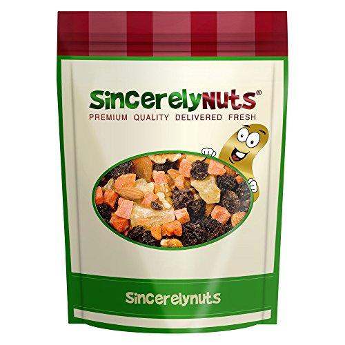 Sincerely Nuts Deluxe Trail Mix Fruit and Nut- One Lb. Bag- Nutritious Mixed Fruits and Nuts- Perfectly Fresh- 100% Kosher Certified