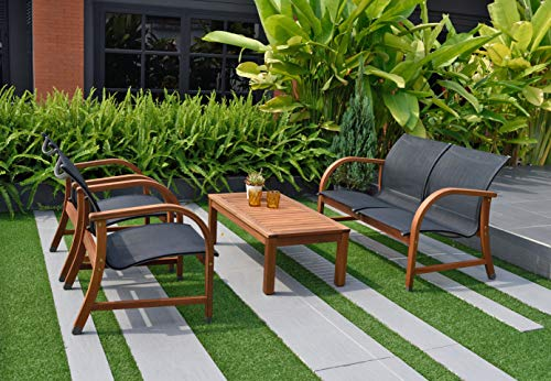 Amazonia Manhattan 4-Piece Patio Deep Seating Set | Eucalyptus Wood | Ideal...