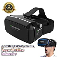 3D VR Glasses vr Headset 360 ° Affichage Casque Immersive Réalité Virtuelle pour Films 3D Jeux Vidéo Boîte VR, Compatible avec iPhone 7 Plus / 6s Plus Série Samsung Galaxy projecteur(Casque VR)