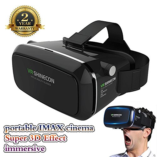 Tobias 3D VR Glasses 360° Viewing Immersive Virtual Reality Headset for 3D Movies Video Games, Compatible with iPhone 7 Plus/ 6s Plus Samsung Galaxy Series and Other Smartphon9Black0e