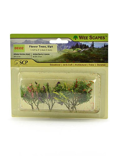 Wee Scapes Architectural Model Flowers & Hedges Flower Trees (red,pink,yellow,purple) 1 1/2 in. - 2 in. pack of 8 [PACK OF 3 ]