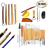 Set of 38 Clay Sculpture Tools - Durable Wood & Quality Metal Clay Modelling Tools - Double-Sided Design Pottery Tools - Perfect for Polymer, Ceramic Clay, Wax Candles
