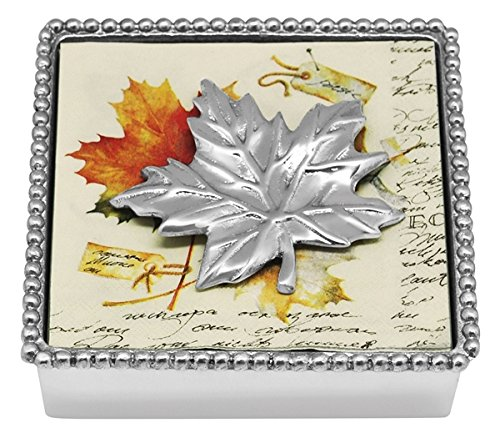 Mariposa Beaded Napkin Box with Silver Maple Leaf Napkin Weight /& 2 sets of Napkins