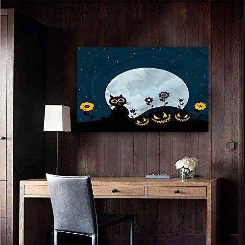 Gabriesl Wall Mural Wallpaper Stickers Halloween Kitty Under Moon Removable Kitchen Size : W36 x H24]()
