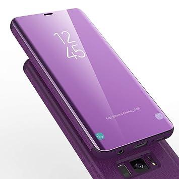 AURSEN Case de Teléfono para Samsung Galaxy S8, Flip Cover Carcasa, Soporte Plegable, Cierre Magnético - Color Púrpura