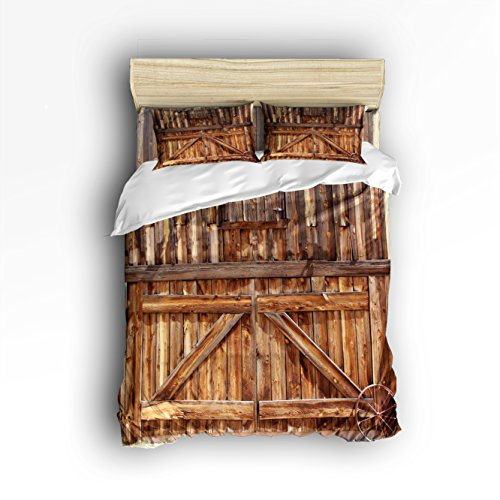 4Pieces Home Comforter Bedding Sets Duvet Cover Sets Bedspread for Adult Kids,Flat Sheet,Shams Set,Fence Rustic Wooden Door 3D , Wood Brown Queen Size -