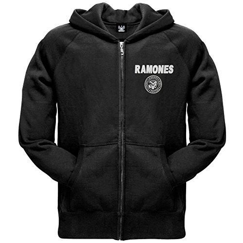 Attitude Zip Hoodie (Ramones - Mens Seal Zip Hoodie Small Black)