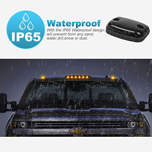 3x Smoke Cab Roof Running Marker Light Amber LED Lights Assembly for 08-16 Chevy