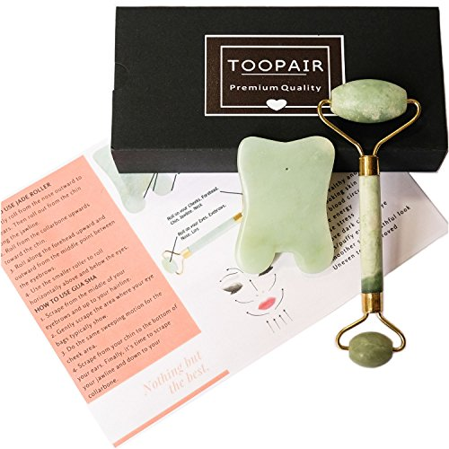 Toopair Gua Sha   Jade Roller Beauty Tool Set   Face  Eyes  Neck And Body Massager   Premium Real Jade Stone For Massaging  Scraping   Anti Aging  No Wrinkles Eyes  Facial Skin Care Massage Kit
