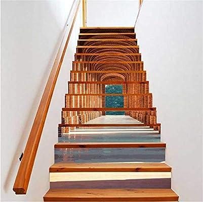 Pegatinas de escaleras Galería de edificios 13 unids Fondos de pantalla de vinilo 3D Calcomanías de canalización de pared Arte de la pared para la escalera Decoración para el hogar impermeable PVC:
