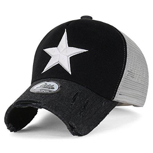 ililily Star Embroidery Tri-Tone Trucker Hat Adjustable Cotton Baseball Cap, Black (Baseball Tone Hat)