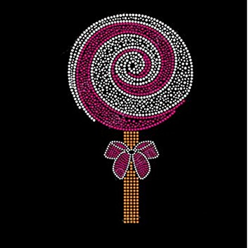 (Candy Lollipop with Swirls Large Rhinestone Iron on Transfer)