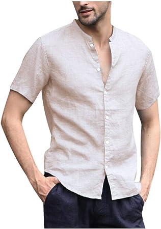 Xlala - Camisetas de algodón y Lino para Hombre, Color Liso ...