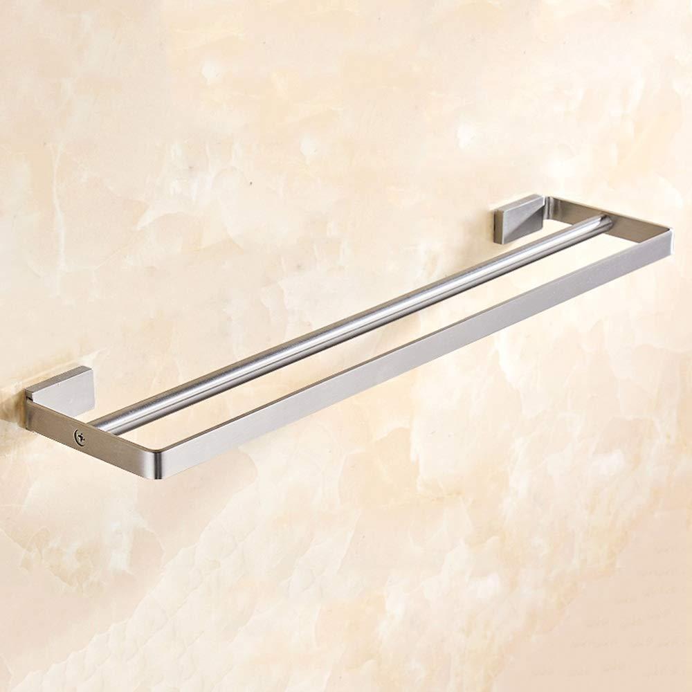 タオル掛けバスルームタオル掛け起毛タオル掛け タオル掛け/ 304ステンレス鋼/浴室タオル掛け/簡単なタオル掛け/正方形タオル掛け棚 壁掛け式レール棚収納ホルダータオルラック棚 (サイズ : Double rod) B07SJNCW7N  Double rod