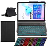 """Samsung Galaxy Tab S6 2019 Case with Keyboard Backlights Ultra Thin PU Leather Slim Folio Stand Cover Removable Wireless Bluetooth Backlit Keyboard Case for Galaxy Tab 10.5"""" S6 T860 T865 T867 (Black)"""