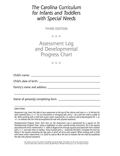 The Carolina Curriculum for Infants and Toddlers with Special Needs: Assessment Log and Developmental Progress Charts (10-Pack) (Best Hacker Group In The World)