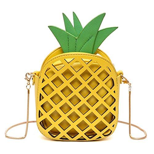 MILATA fruta piña en forma de mujer Pu cuero embrague bolso cruzado bolsa de cuerpo (amarillo)