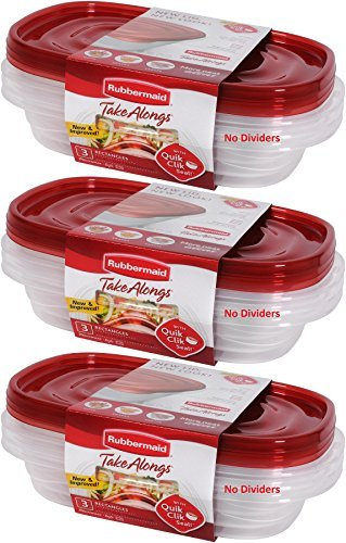 Rubbermaid 714270014994 Take Alongs Food Storage Container, 4-Cup Rectangle, Set of 9, (9 Pack), Red