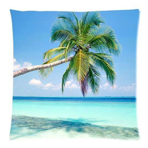 HLPPC Sandy Tropical Paradise Beach with Palm Trees and the Sea Ocean Cushion Case - Throw Pillow Case Decor Cushion Cover Square 18 x 18 Inches