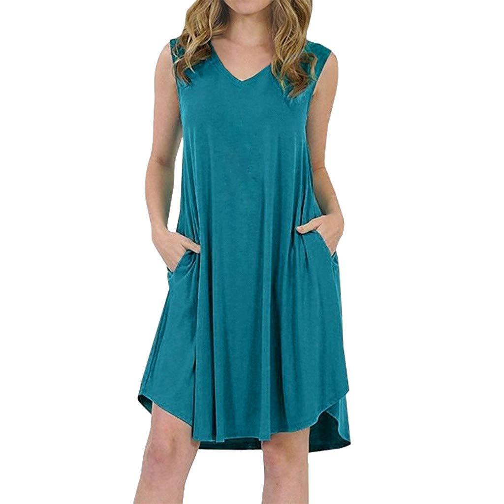 Women V Neck Plus Size Sleeveless Swing Dress Skater Midi Flared Summer Casual Sundress (S)