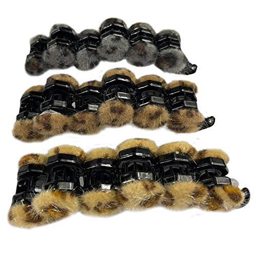 (3 Pack Leopard Print Ponytail Hair Clips Hair Ring for Long Hair Horsetail Buckle Banana Clips Vertical Clip Ponytail Hair Cuff Hair Bands with)