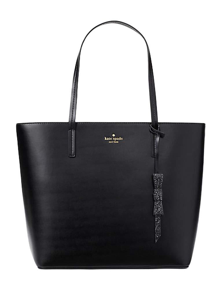 Kate Spade Seton Drive Karla Smooth Leather Tote Shoulder Bag Purse Handbag (Black)
