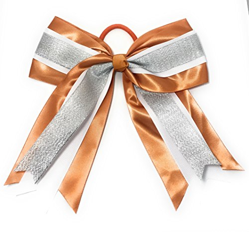 Chicky Chicky Bling Bling Large Cheer Bow Pony Tail Holder burnt orange and silver (Burnt Ut Orange)