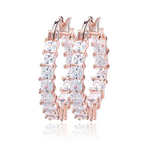 "uPrimor Elegant Rose Gold Plated Inside Out White Cubic Zirconia Hoop Earrings/Loop Earrings,1"" Diameter"