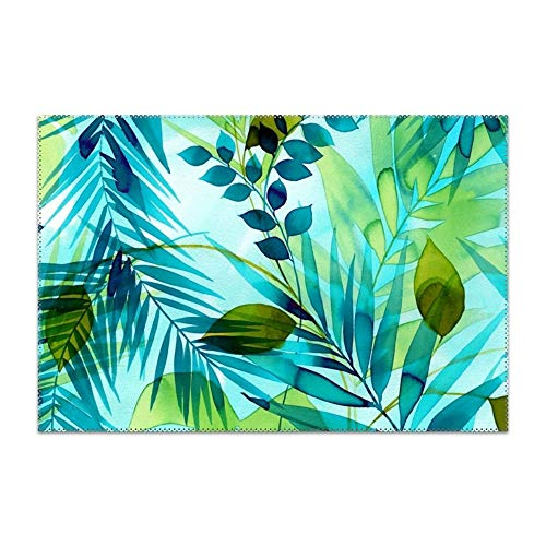 YLJH Placemats for Dining Table Blue Plants Durable Kitchen Table Mats Washable Heat Resistant Stain-Resistant Non Slip Placemat ()