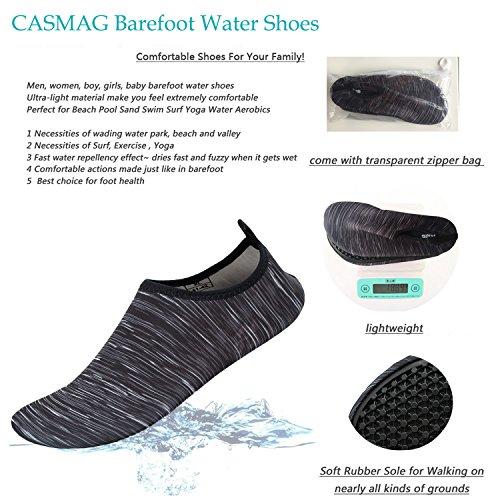 CASMAG Männer Frauen Quick-Dry Wasser Schuhe Barfüßig Aqua Socken Für Yoga Strand Schwimmen Pool Übung Surf Schwarz