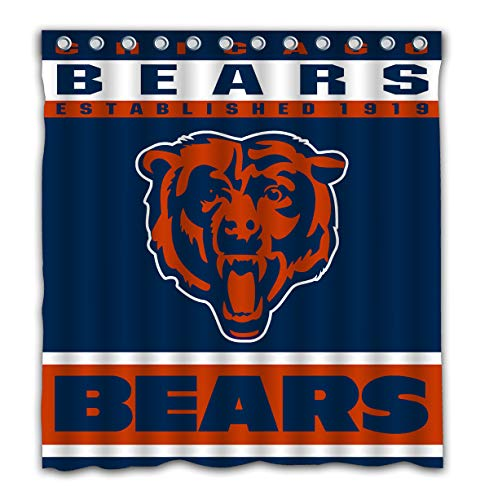 Potteroy Chicago Bears Team Design Shower Curtain Waterproof Polyester Fabric 66x72 -