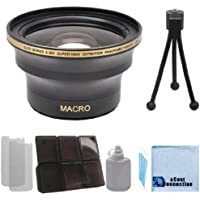 Elite Series 0.30x Ultra Super High Definition Panoramic Fisheye Lens - 52mm / 58mm with Deluxe Lens Accessories Kit for all Canon / Nikon / Pentax Cameras & Camcorders