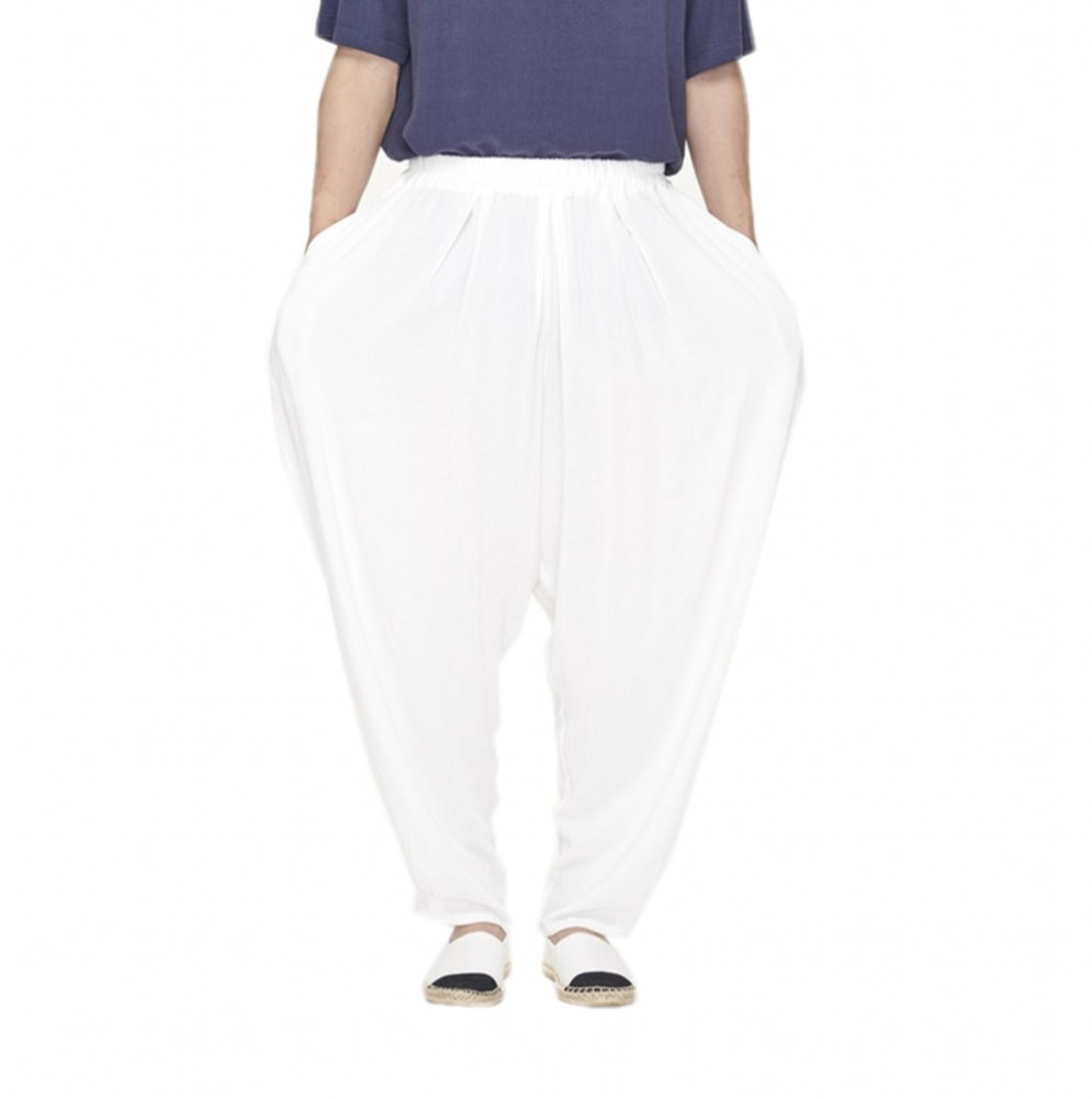 Katuo Men's Loose Casual Taichi Pants Summer S-L (M, White)