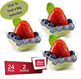 MINI WONDERS Heavy Duty Small Plastic Single Serve Dessert Cups 2 oz. Clear Appetizer Square Bowls 24 Count - Disposable Reusable Party Dishes