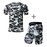 DGXINJUN Body Safe Guard Padded Compression Sports Short Sleeve Protective T-Shirt Shoulder Rib Chest Protector camo Suit for Football Basketball Paintball Rugby Parkour Extreme