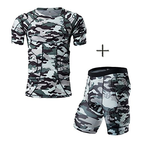 Chest Padded Baseball Shirt (DGXINJUN Body Safe Guard Padded Compression Sports Short Sleeve Protective T-Shirt Shoulder Rib Chest Protector Guard Camo Baseball Shirt Suit for Football Basketball Paintball Rugby Parkour Extreme)
