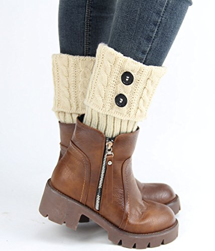 Menglihua Womens Knit Twist Turn-Over Buttons Boot Socks Topper Cuff Leg Warmers Beige One Size (Pink Fluffies Leg Warmers)