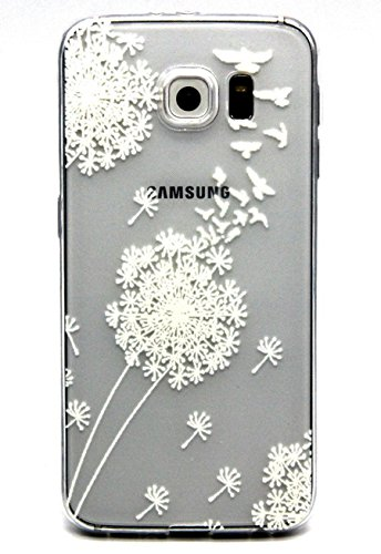 Galaxy S7 Case,3Cworld Ultra Thin Clear Art Pattern Crystal Gel TPU Rubber Flexible Slim Skin Soft Case for Samsung Galaxy S7 (Dandelion/Bird Flying-White)
