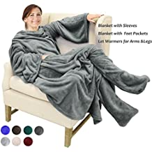 """Catalonia Wearable Fleece Blanket with Sleeves & Feet pockets for Adult Women Men, Micro Plush Wrap Sleeved Throw Blanket Robe Large 75"""" x 53"""""""