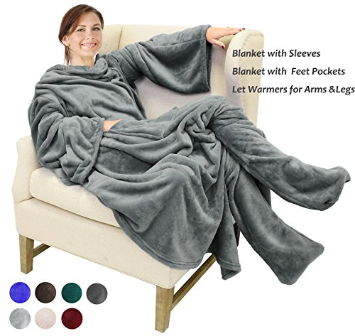 "Catalonia Wearable Fleece Blanket with Sleeves & Feet pockets for Adult Women Men, Micro Plush Wrap Sleeved Throw Blanket Robe Large 75"" x 53"""