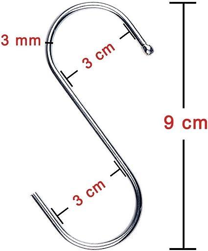 30er Pack S-Form Haken zum Aufh/ängen 9 cm Kleiderb/ügel f/ür K/üche Schlafzimmer und B/üro Bad