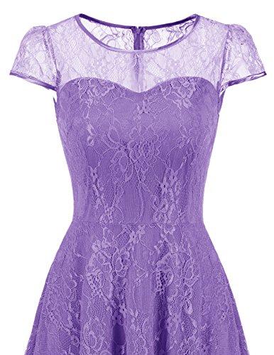 DRESSTELLS Women's Bridesmaid Dress Retro Lace Swing Party Dresses with Cap-Sleeves Purple S by DRESSTELLS (Image #3)